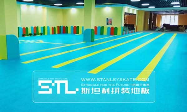 内蒙古新城区天籁轮滑512平斯坦利拼装地板室内轮滑场,斯坦利轮滑拼装地板案例展示