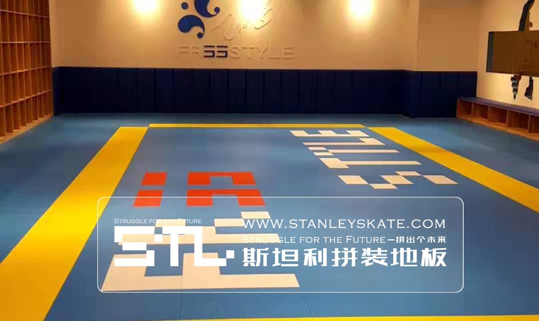 江西南昌费斯轮滑体验馆160平斯坦利拼装地板室内轮滑场,斯坦利轮滑拼装地板案例展示