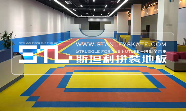 广州鹏跃轮滑270平斯坦利拼装地板室内轮滑馆,斯坦利轮滑拼装地板案例展示