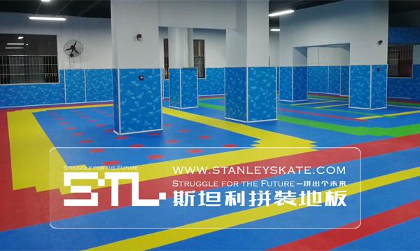 广西平南县桂平米高轮滑俱乐部246平斯坦利拼装地板室内轮滑场,斯坦利轮滑拼装地板案例展示