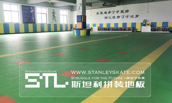 河北省晋州市旭博少儿运动馆294平斯坦利拼装地板室内轮滑场,斯坦利轮滑拼装地板案例展示