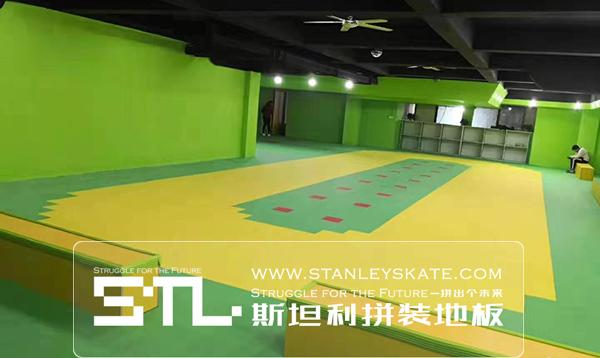 安徽无与伦比轮滑287平方斯坦利拼装地板室内轮滑馆,斯坦利轮滑拼装地板案例展示