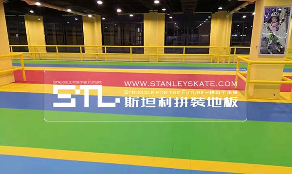 江苏南通阿布溜溜479平方斯坦利拼装地板室内轮滑场,斯坦利轮滑拼装地板案例展示